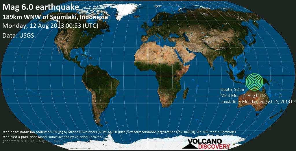 Strong mag. 6.0 earthquake  - 189km WNW of Saumlaki, Indonesia on Monday, 12 August 2013