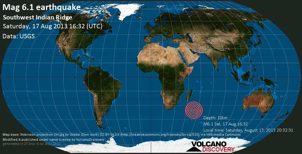 Strong mag. 6.1 earthquake  - Southwest Indian Ridge on Saturday, 17 August 2013