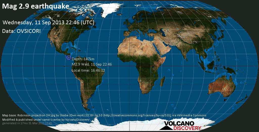 Minor mag. 2.9 earthquake  -  on Wednesday, 11 September 2013