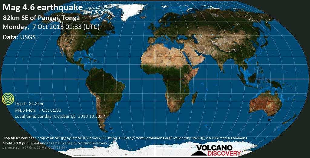 Light mag. 4.6 earthquake  - 82km SE of Pangai, Tonga on Monday, 7 October 2013