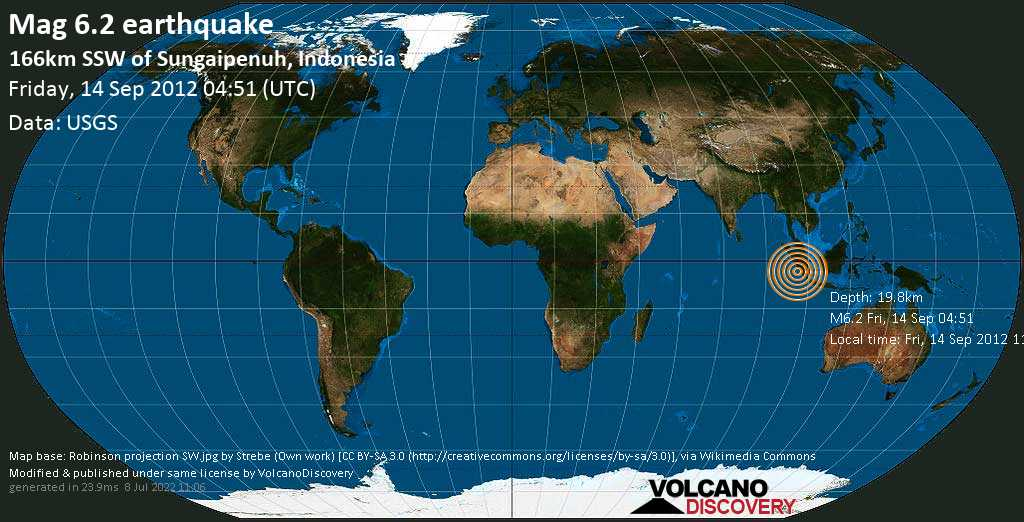 Strong mag. 6.2 earthquake  - 166km SSW of Sungaipenuh, Indonesia on Friday, 14 September 2012