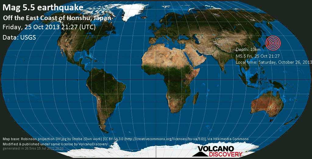 Moderate mag. 5.5 earthquake  - Off the east coast of Honshu, Japan on Friday, 25 October 2013