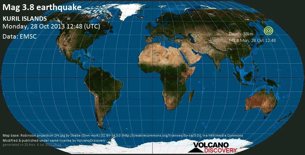 Minor mag. 3.8 earthquake  - KURIL ISLANDS on Monday, 28 October 2013