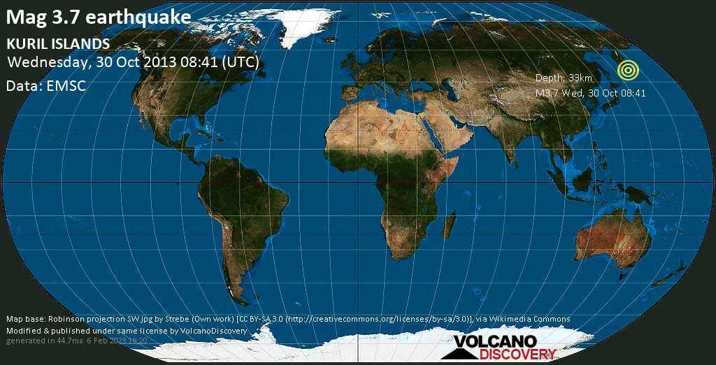 Minor mag. 3.7 earthquake  - KURIL ISLANDS on Wednesday, 30 October 2013