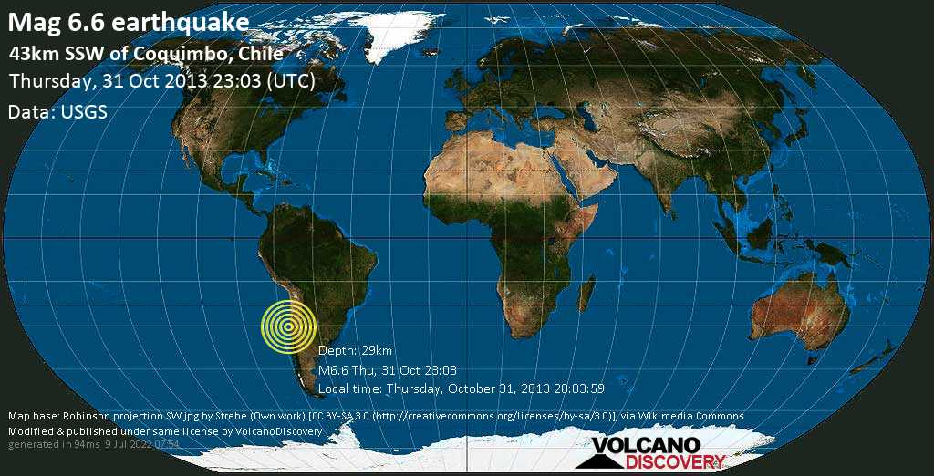 Strong mag. 6.6 earthquake  - 43km SSW of Coquimbo, Chile on Thursday, 31 October 2013