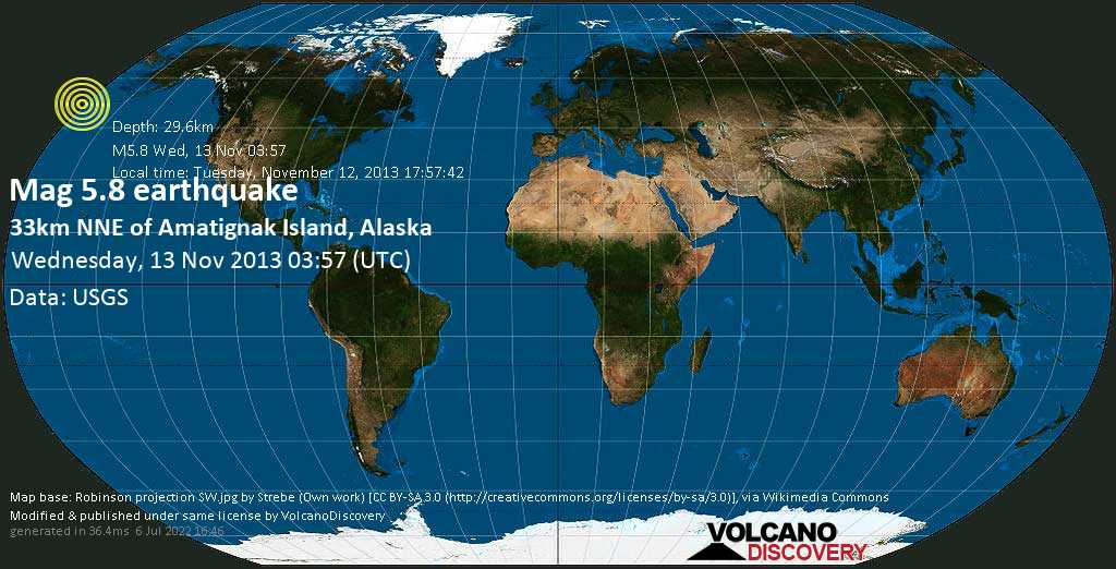 Moderate mag. 5.8 earthquake  - 33km NNE of Amatignak Island, Alaska on Wednesday, 13 November 2013