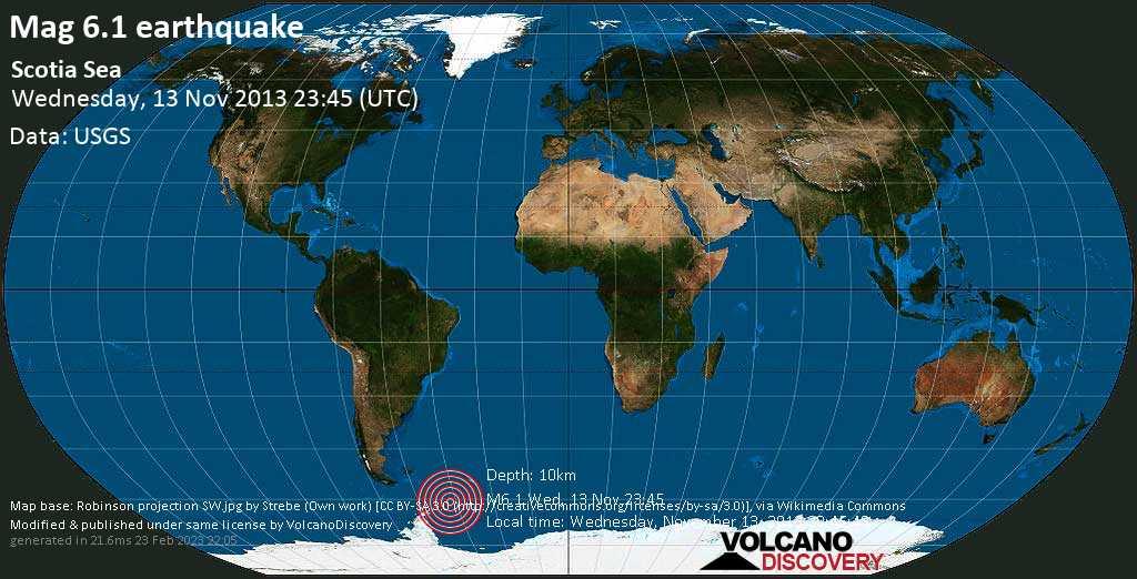 Strong mag. 6.1 earthquake  - Scotia Sea on Wednesday, 13 November 2013