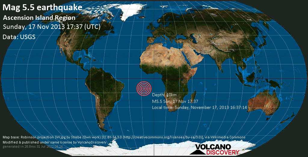 Moderate mag. 5.5 earthquake  - Ascension Island region on Sunday, 17 November 2013