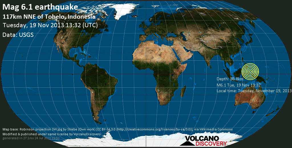 Strong mag. 6.1 earthquake  - 117km NNE of Tobelo, Indonesia on Tuesday, 19 November 2013