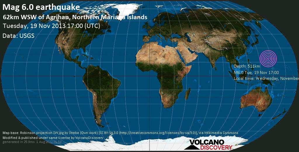 Strong mag. 6.0 earthquake  - 62km WSW of Agrihan, Northern Mariana Islands on Tuesday, 19 November 2013