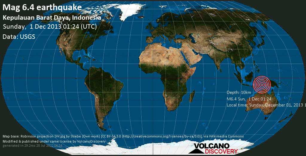 Strong mag. 6.4 earthquake  - Kepulauan Barat Daya, Indonesia on Sunday, 1 December 2013