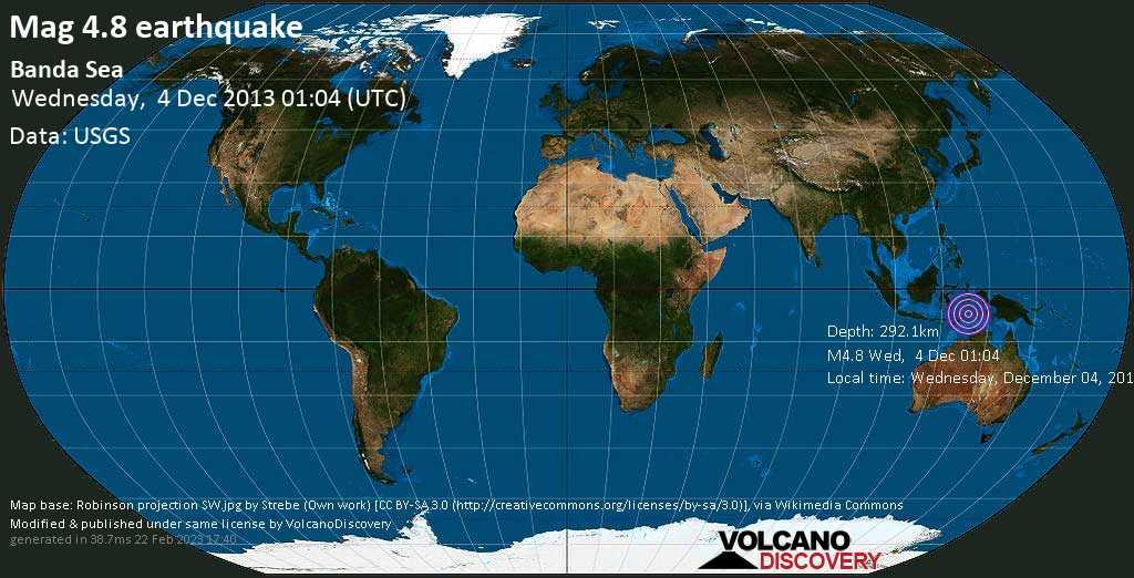 Light mag. 4.8 earthquake  - Banda Sea on Wednesday, 4 December 2013