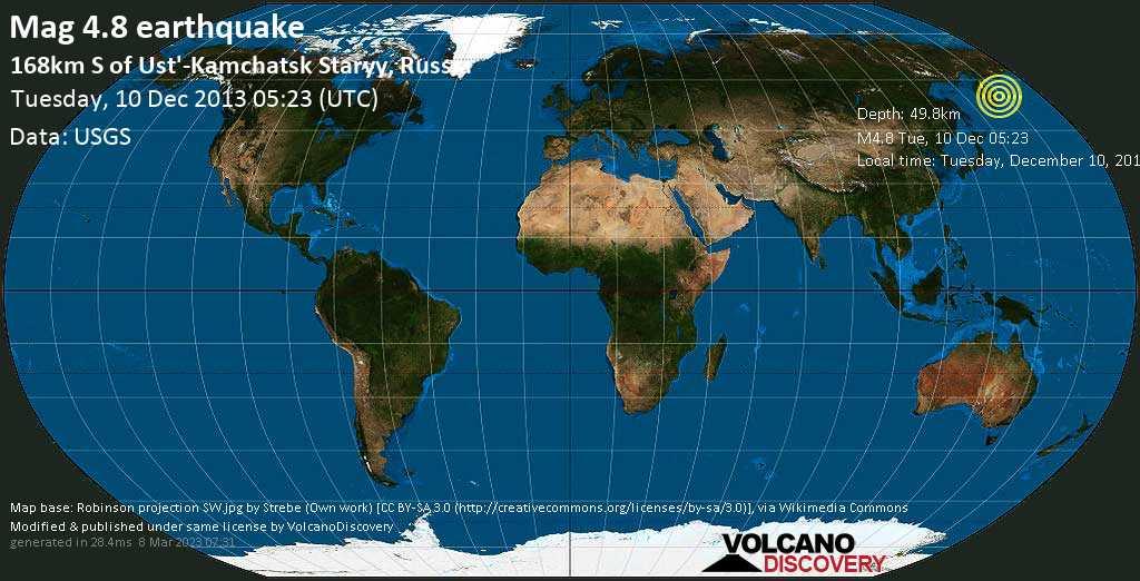 Light mag. 4.8 earthquake  - 168km S of Ust\'-Kamchatsk Staryy, Russia on Tuesday, 10 December 2013