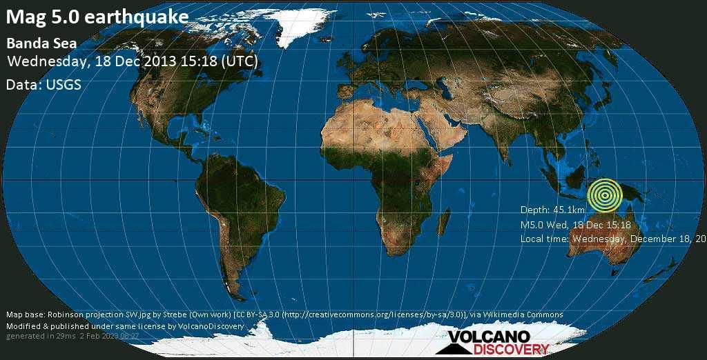 Moderate mag. 5.0 earthquake  - Banda Sea on Wednesday, 18 December 2013