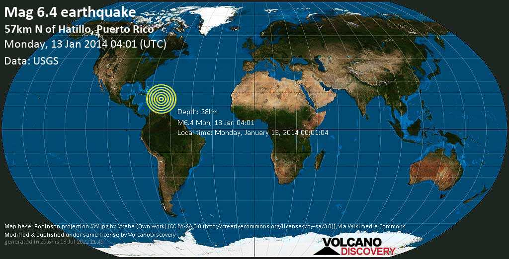 Strong mag. 6.4 earthquake  - 57km N of Hatillo, Puerto Rico on Monday, 13 January 2014