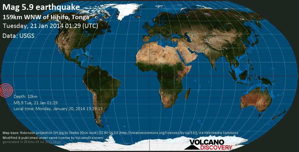 Moderate mag. 5.9 earthquake  - 159km WNW of Hihifo, Tonga on Tuesday, 21 January 2014