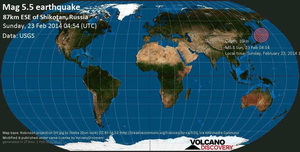 Moderate mag. 5.5 earthquake  - 87km ESE of Shikotan, Russia on Sunday, 23 February 2014