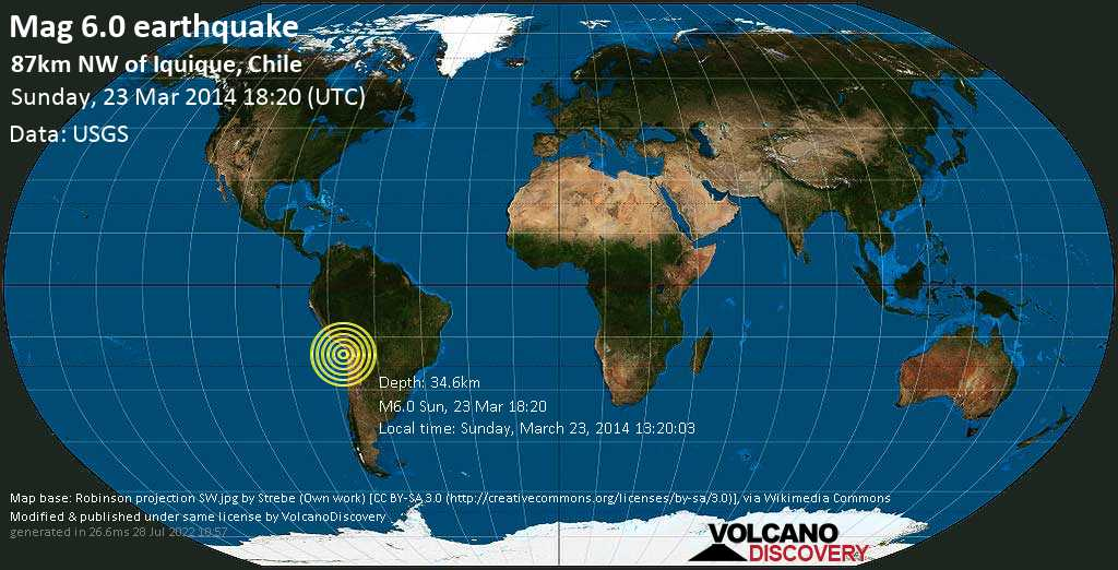 Strong mag. 6.0 earthquake  - 87km NW of Iquique, Chile on Sunday, 23 March 2014