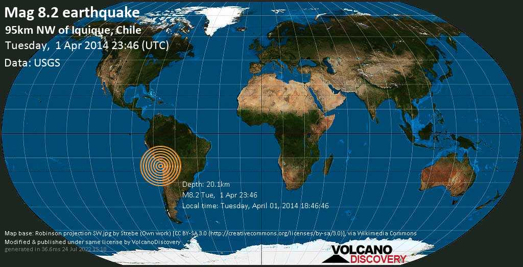 Great mag. 8.2 earthquake  - 95km NW of Iquique, Chile on Tuesday, 1 April 2014