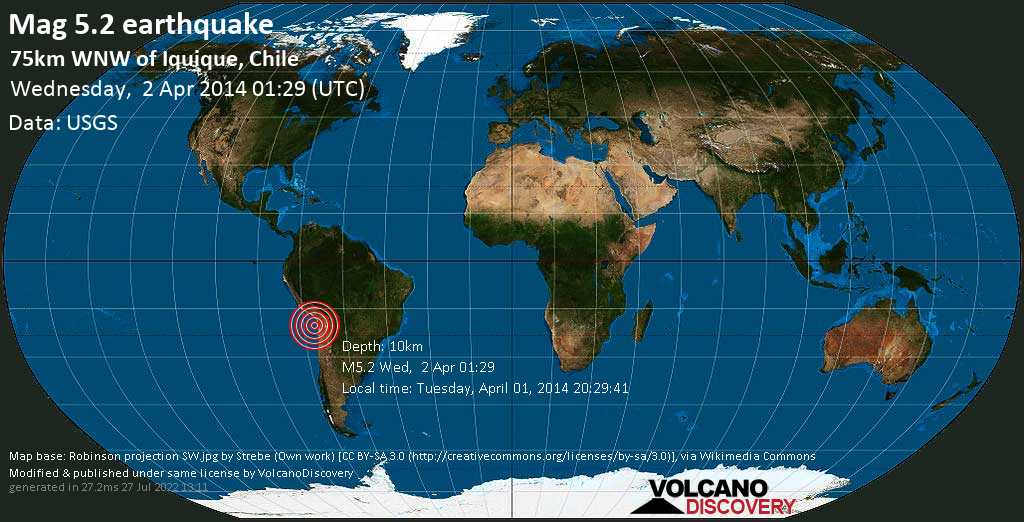Moderate mag. 5.2 earthquake  - 75km WNW of Iquique, Chile on Wednesday, 2 April 2014