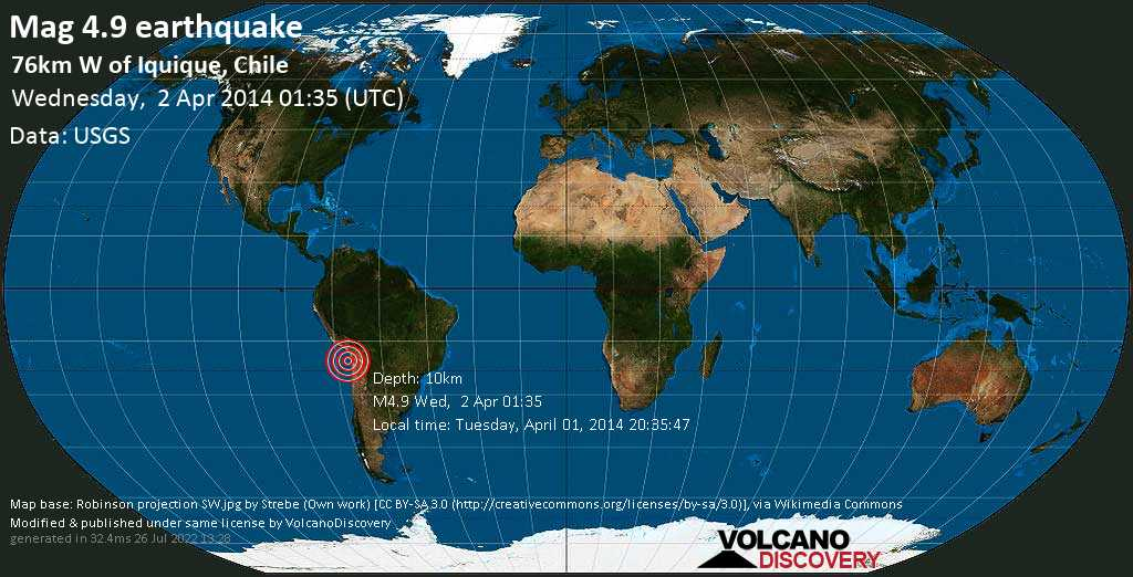 Light mag. 4.9 earthquake  - 76km W of Iquique, Chile on Wednesday, 2 April 2014