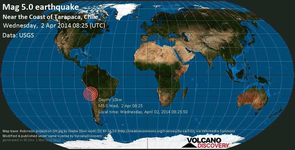 Moderate mag. 5.0 earthquake  - near the coast of Tarapaca, Chile on Wednesday, 2 April 2014