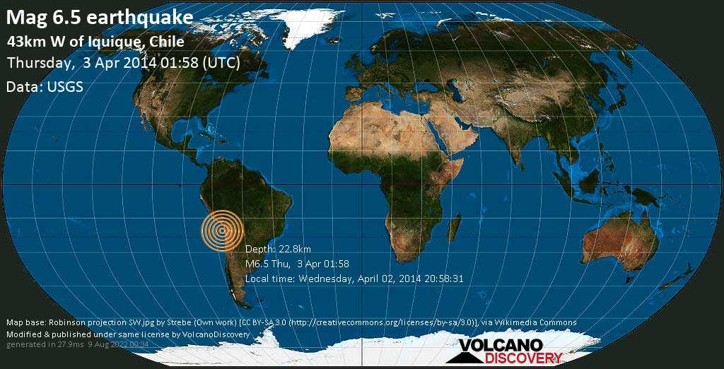 Strong mag. 6.5 earthquake  - 43km W of Iquique, Chile on Thursday, 3 April 2014