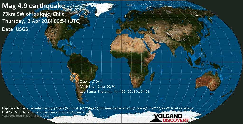 Light mag. 4.9 earthquake  - 73km SW of Iquique, Chile on Thursday, 3 April 2014