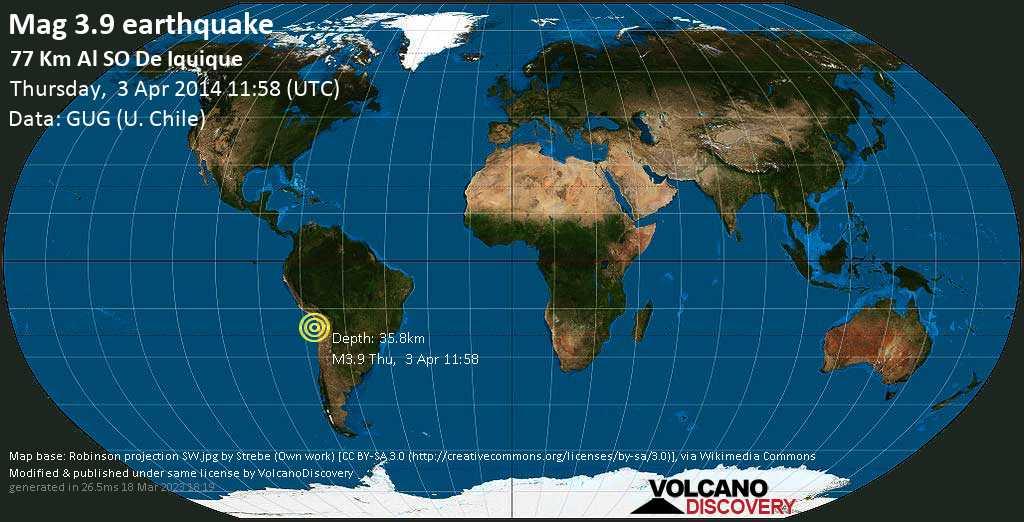 Minor mag. 3.9 earthquake  - 77 km al SO de Iquique on Thursday, 3 April 2014