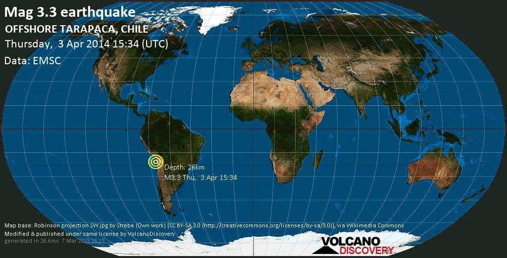 Minor mag. 3.3 earthquake  - OFFSHORE TARAPACA, CHILE on Thursday, 3 April 2014