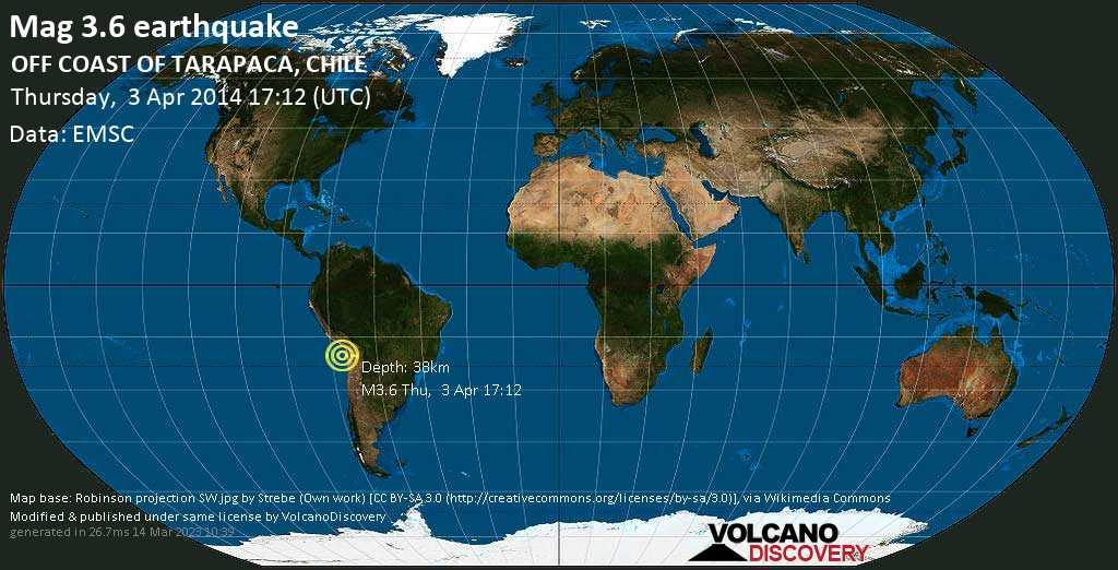 Minor mag. 3.6 earthquake  - OFF COAST OF TARAPACA, CHILE on Thursday, 3 April 2014