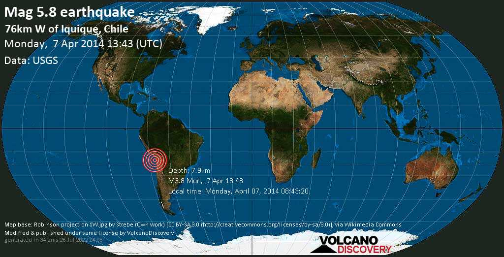 Moderate mag. 5.8 earthquake  - 76km W of Iquique, Chile on Monday, 7 April 2014
