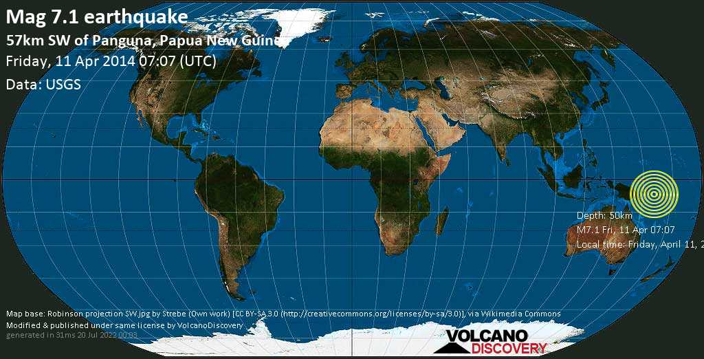 Major mag. 7.1 earthquake  - 57km SW of Panguna, Papua New Guinea on Friday, 11 April 2014