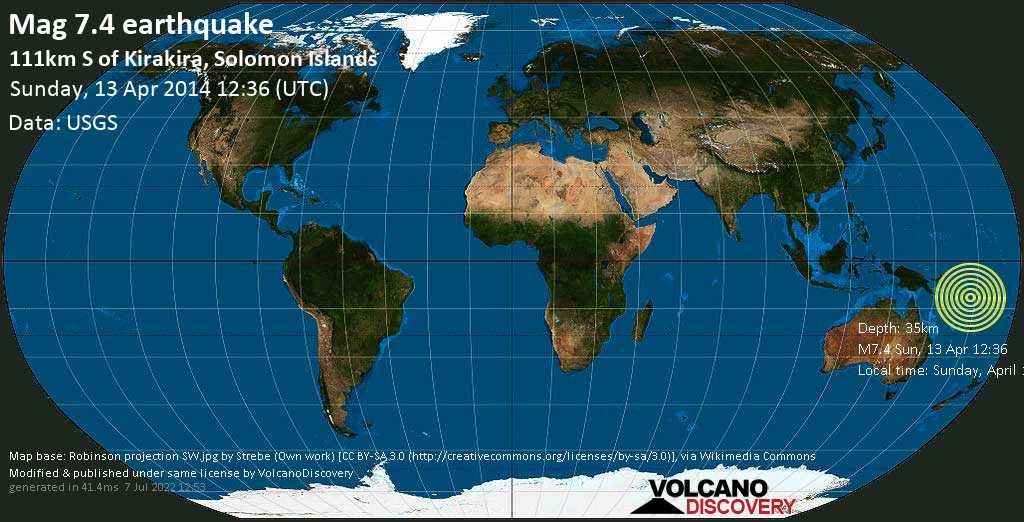 Major mag. 7.4 earthquake  - 111km S of Kirakira, Solomon Islands on Sunday, 13 April 2014
