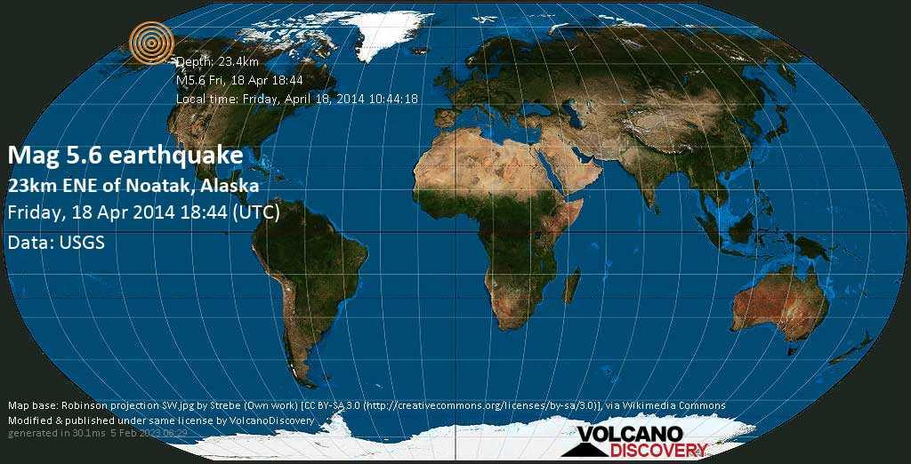 Moderate mag. 5.6 earthquake  - 23km ENE of Noatak, Alaska on Friday, 18 April 2014