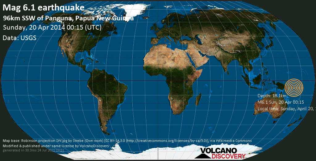 Strong mag. 6.1 earthquake  - 96km SSW of Panguna, Papua New Guinea on Sunday, 20 April 2014