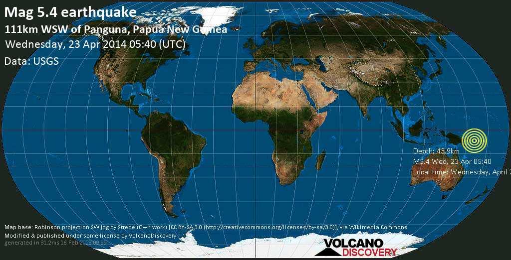 Moderate mag. 5.4 earthquake  - 111km WSW of Panguna, Papua New Guinea on Wednesday, 23 April 2014