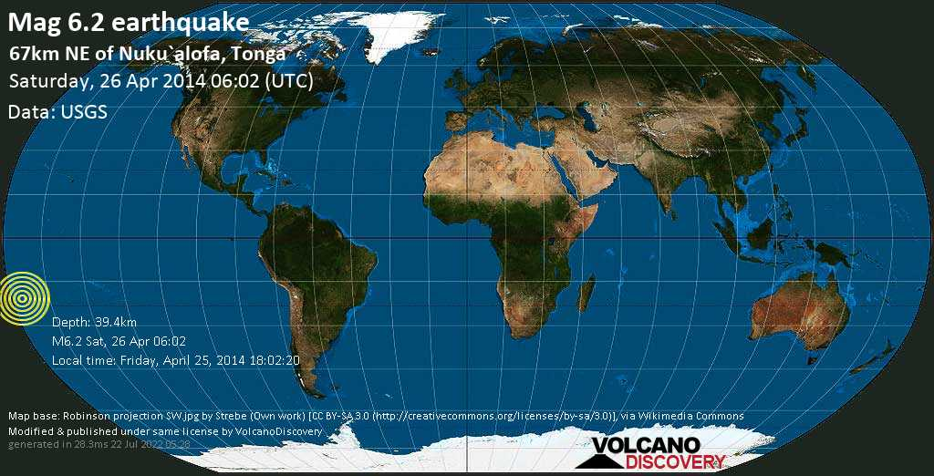 Strong mag. 6.2 earthquake  - 67km NE of Nuku`alofa, Tonga on Saturday, 26 April 2014
