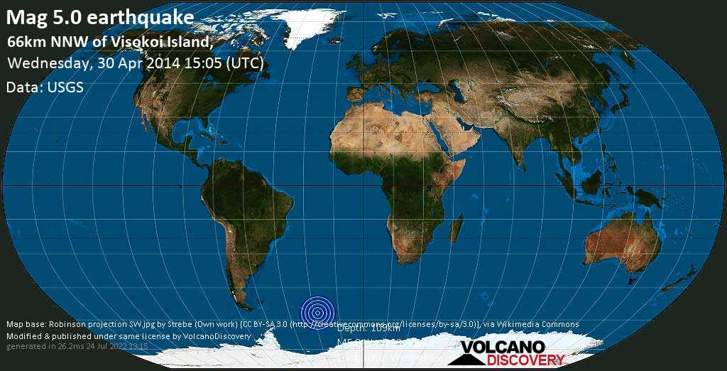 Moderate mag. 5.0 earthquake  - 66km NNW of Visokoi Island, on Wednesday, 30 April 2014