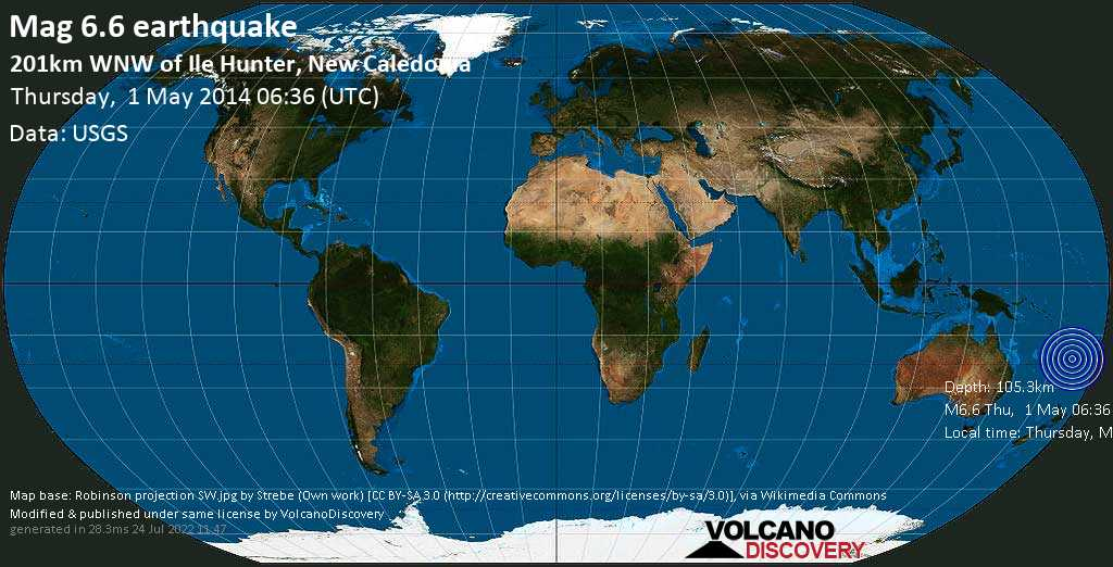 Strong mag. 6.6 earthquake  - 201km WNW of Ile Hunter, New Caledonia on Thursday, 1 May 2014