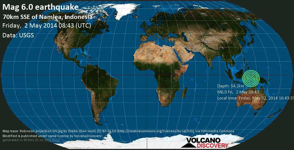 Strong mag. 6.0 earthquake  - 70km SSE of Namlea, Indonesia on Friday, 2 May 2014