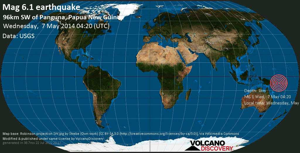 Strong mag. 6.1 earthquake  - 96km SW of Panguna, Papua New Guinea on Wednesday, 7 May 2014