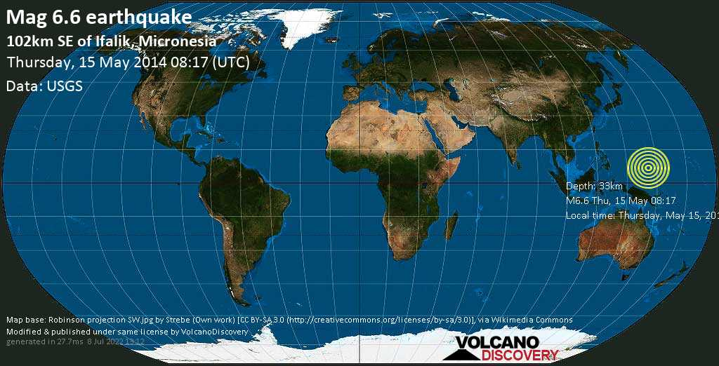 Strong mag. 6.6 earthquake  - 102km SE of Ifalik, Micronesia on Thursday, 15 May 2014
