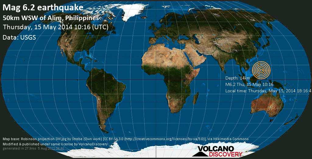 Strong mag. 6.2 earthquake  - 50km WSW of Alim, Philippines on Thursday, 15 May 2014