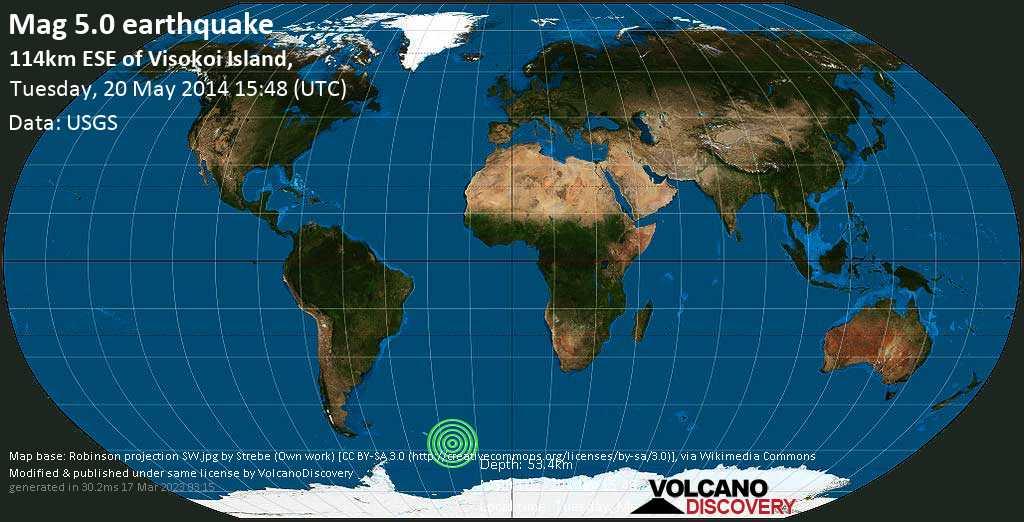 Moderate mag. 5.0 earthquake  - 114km ESE of Visokoi Island, on Tuesday, 20 May 2014