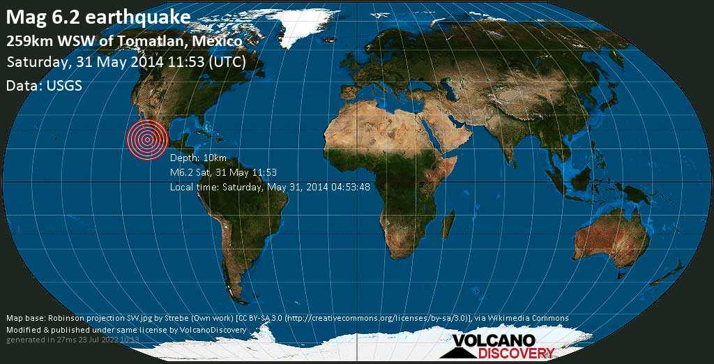 Strong mag. 6.2 earthquake  - 259km WSW of Tomatlan, Mexico on Saturday, 31 May 2014