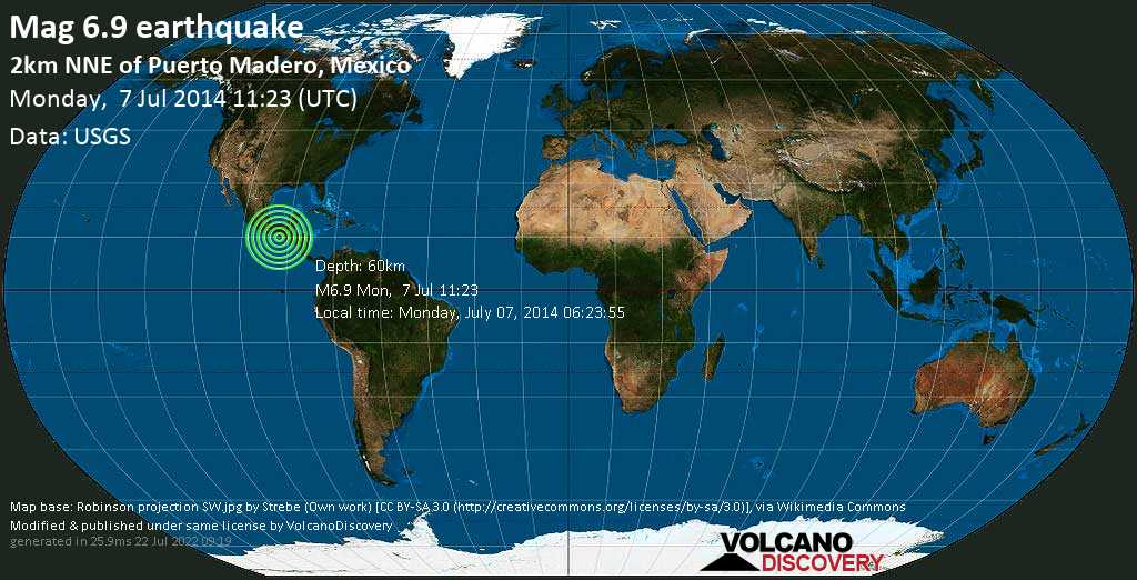 Strong mag. 6.9 earthquake  - 2km NNE of Puerto Madero, Mexico on Monday, 7 July 2014