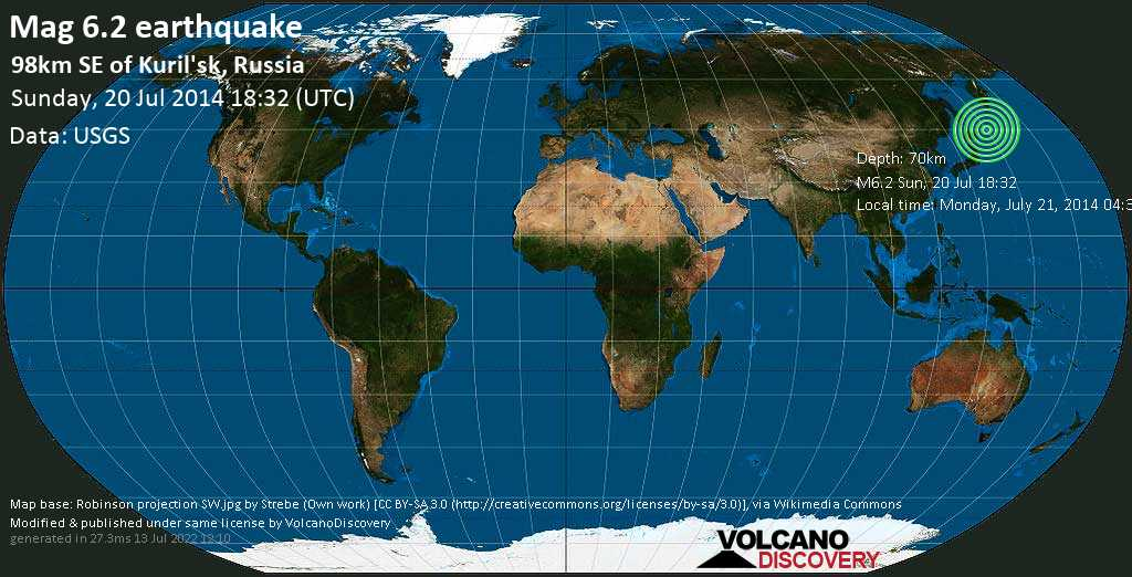 Strong mag. 6.2 earthquake  - 98km SE of Kuril\'sk, Russia on Sunday, 20 July 2014