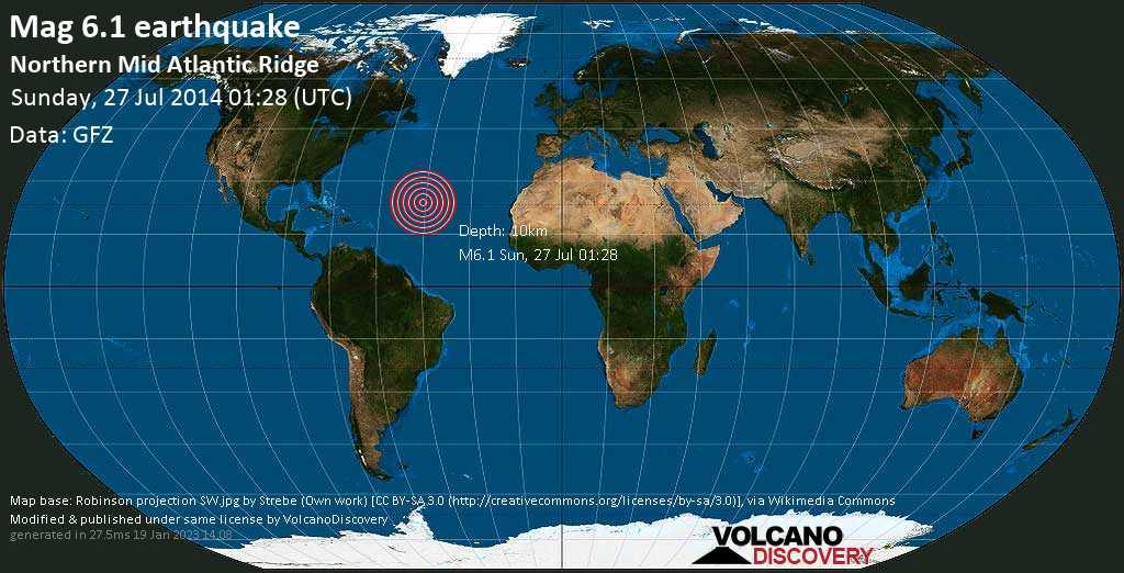 Strong mag. 6.1 earthquake  - Northern Mid Atlantic Ridge on Sunday, 27 July 2014