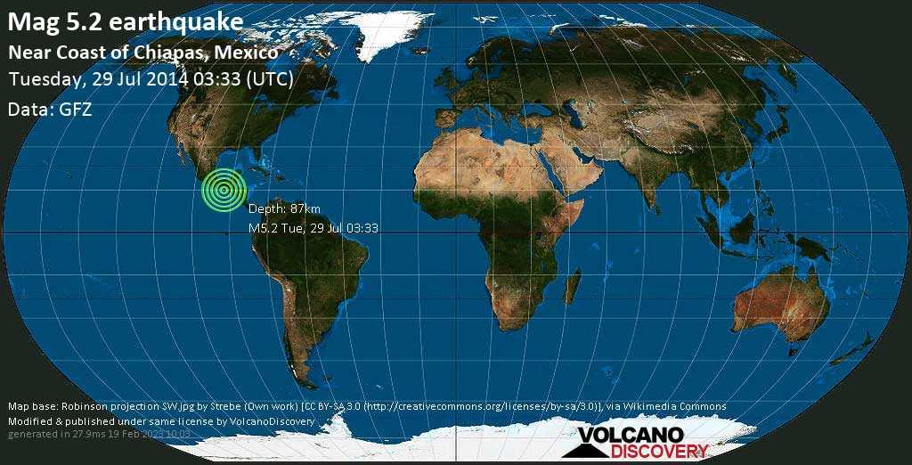 Moderate mag. 5.2 earthquake  - Near Coast of Chiapas, Mexico on Tuesday, 29 July 2014